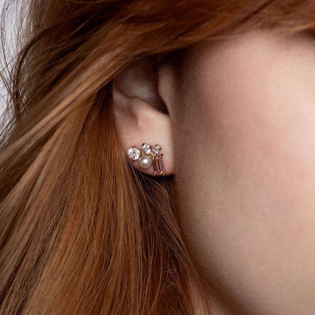Blush Morganite Trio ear studs