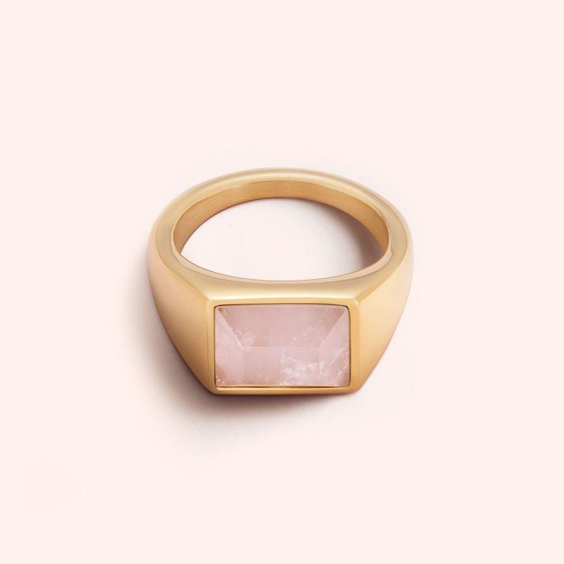 Rose quartz signet ring