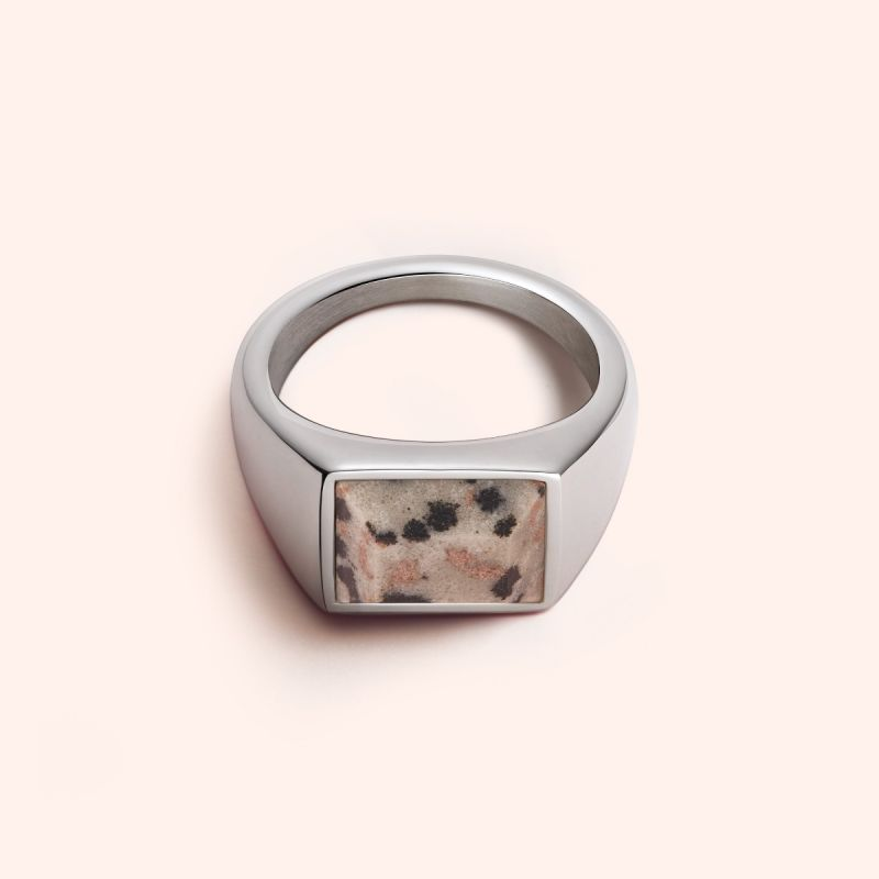 Dalmatian Jasper signet ring