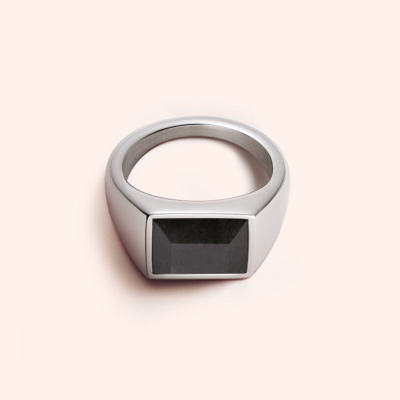 Black stone signet ring