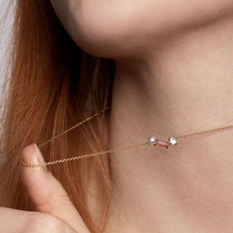 Blush Morganite Trio necklace