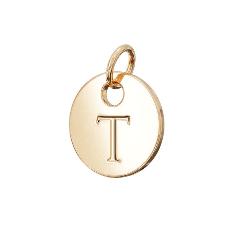 Gold Letter Charm T