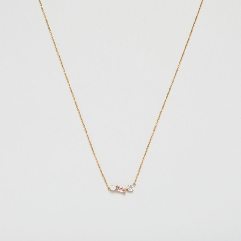 Blush Morganite Trio necklace