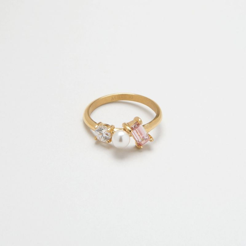 Blush Morganite Trio ring 48EU