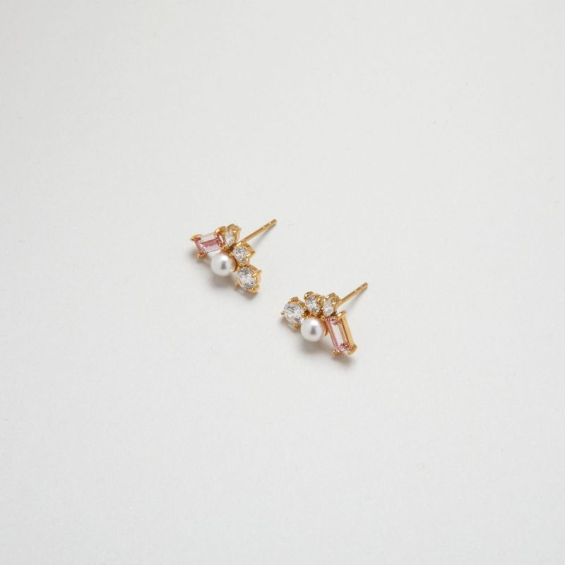 Blush Morganite Trio ear studs