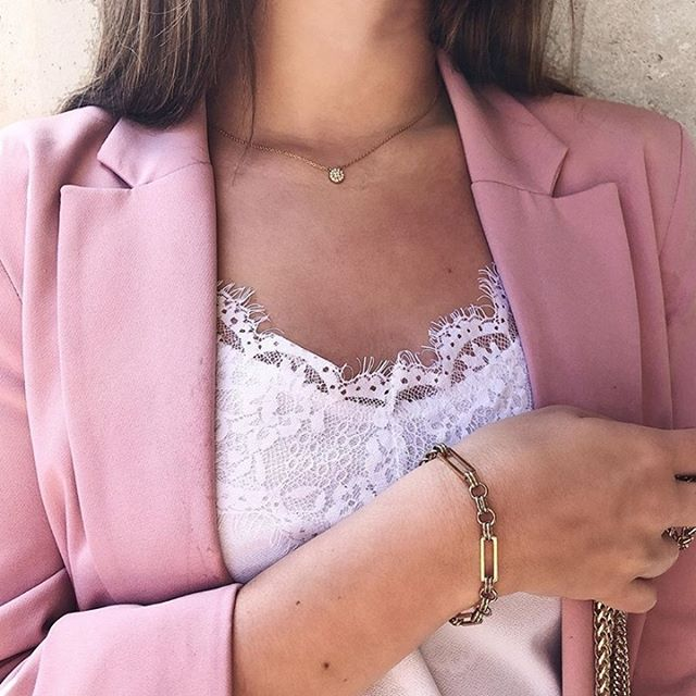 Complete your outfit with some sparkle. Beautiful @lucile.dplge wearing the Link bracelet and Alva necklace ✨