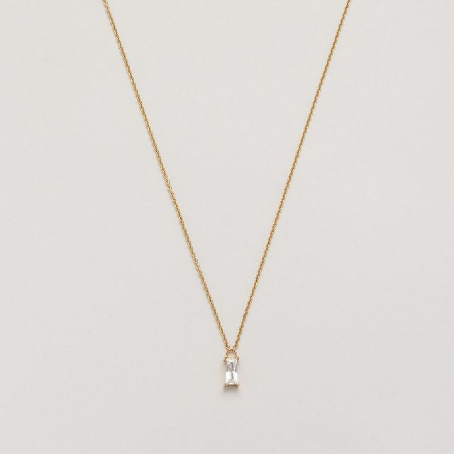 New in: Icon Solitaire Necklace, the perfect sleek necklace with a small baguette-cut zirconia pendant ✨