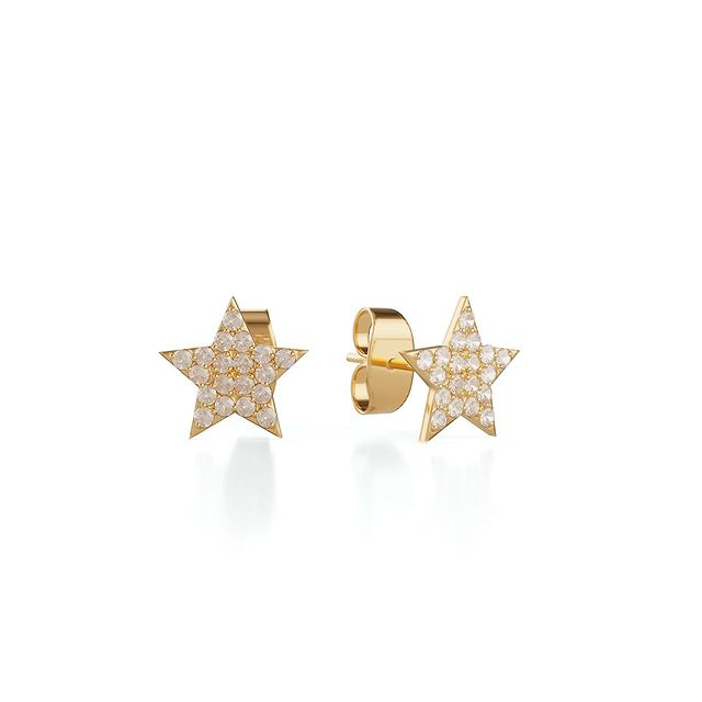 Trilogy star ear studs ⭐️ Studded with shining cubic zirconia, these bright, brilliant studs demand attention. Wear them by themselves for a bold statement #marcmirren #creativeclassicsbymm