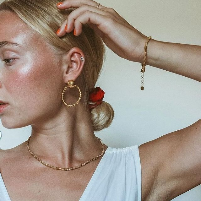 Donna twisted hoops and our Debbie chain bracelet & necklace